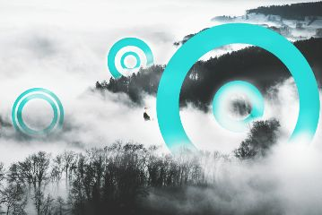 FreeToEdit circles blue surreal draw abstract fly hills