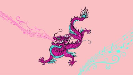 dragon pink pinkdragon musicsigns freetoedit