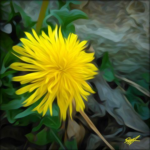 flower yellow yellowflower weed oilpaintingeffect