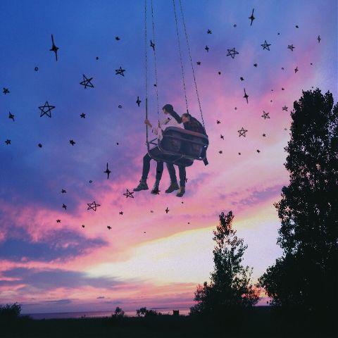 carouselremix freetoedit sunset clouds swing