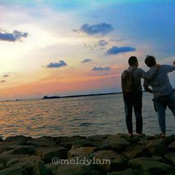 senja indonesia pantai beach orange